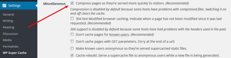 wp-super-cache-wordpress-vtičnik-omogočanje-gzip-stiskanja