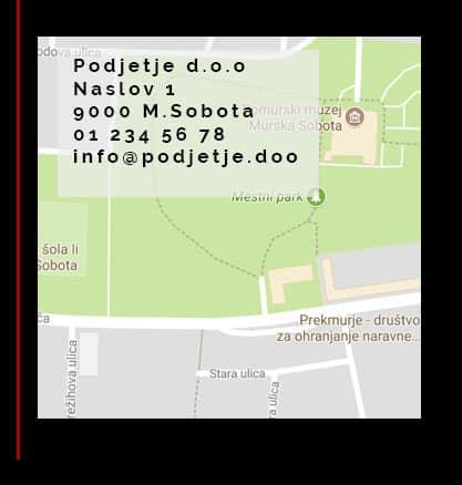 Primer zemljevida v nogi spletne strani
