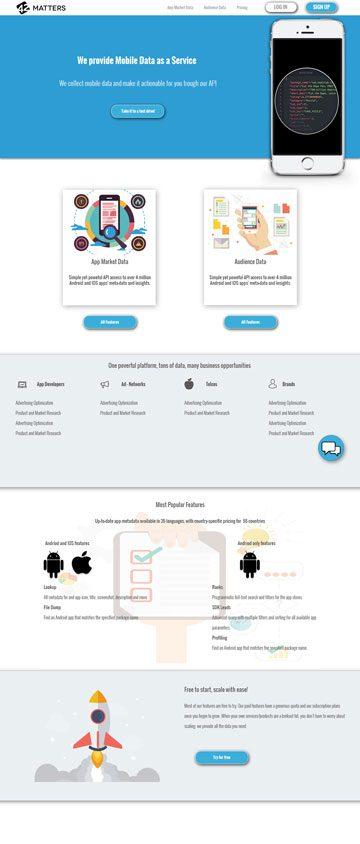 Pristajalna stran za Mobilne podatke kot storitev