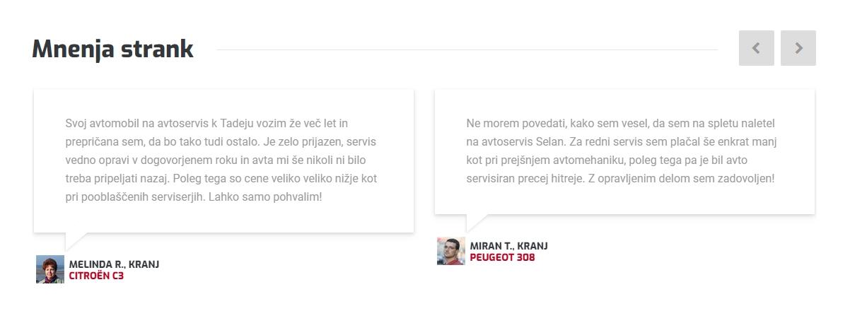 Mnenja strank Avtoservis Selan