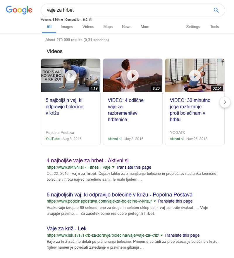 Vaje za hrbet v Google iskanju