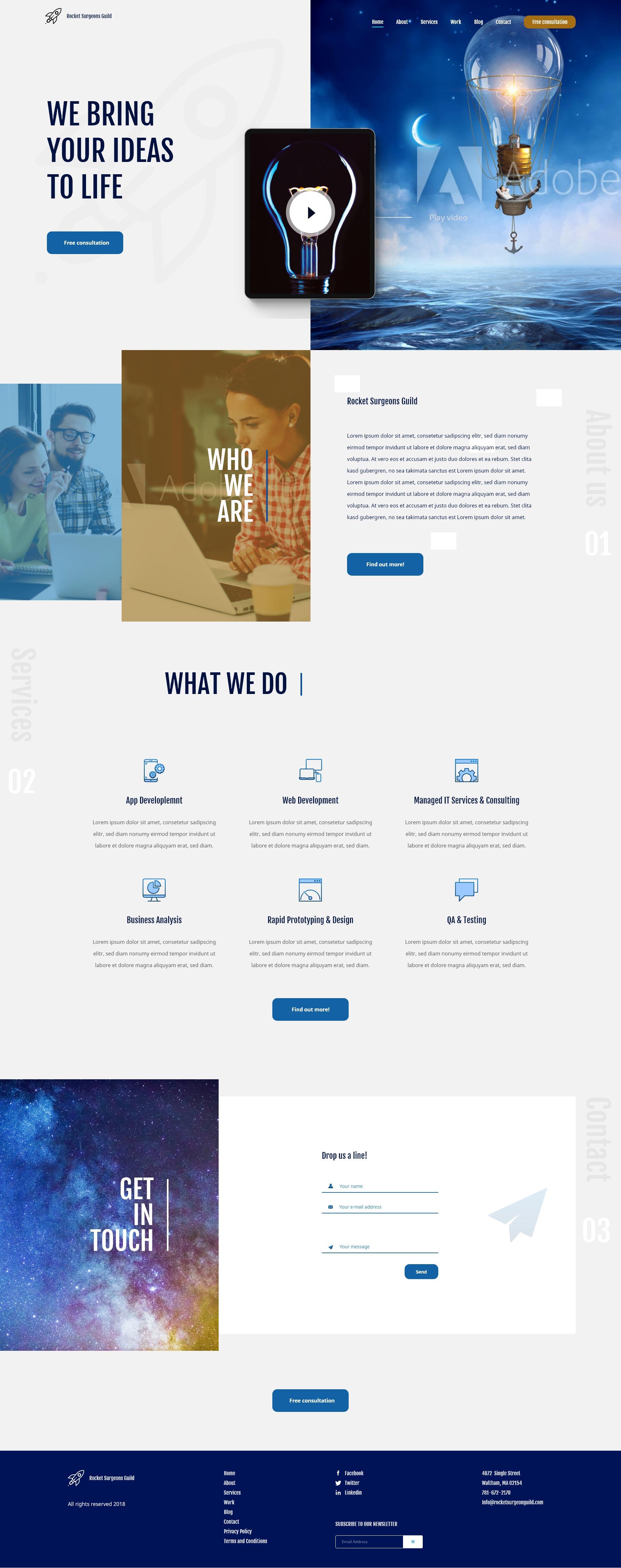 Domača spletna stran za kreativno agencijo