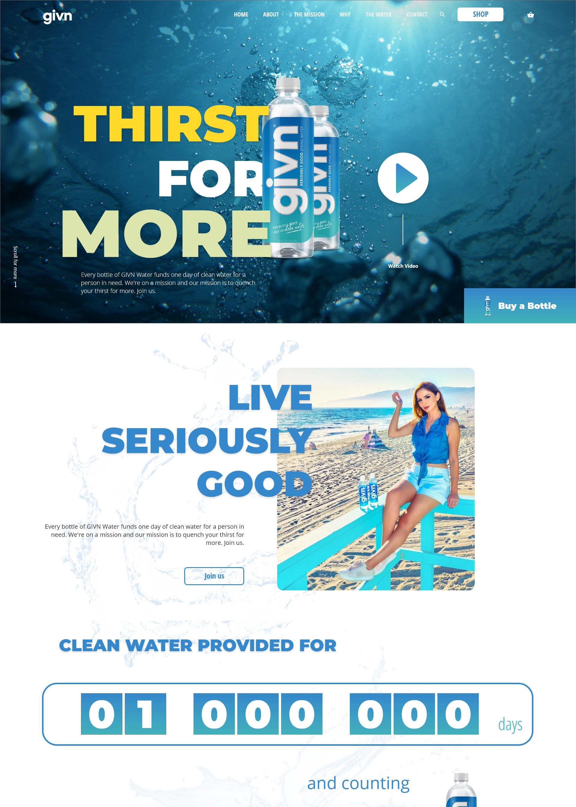 GIVN voda domačapristajalna stran koncept