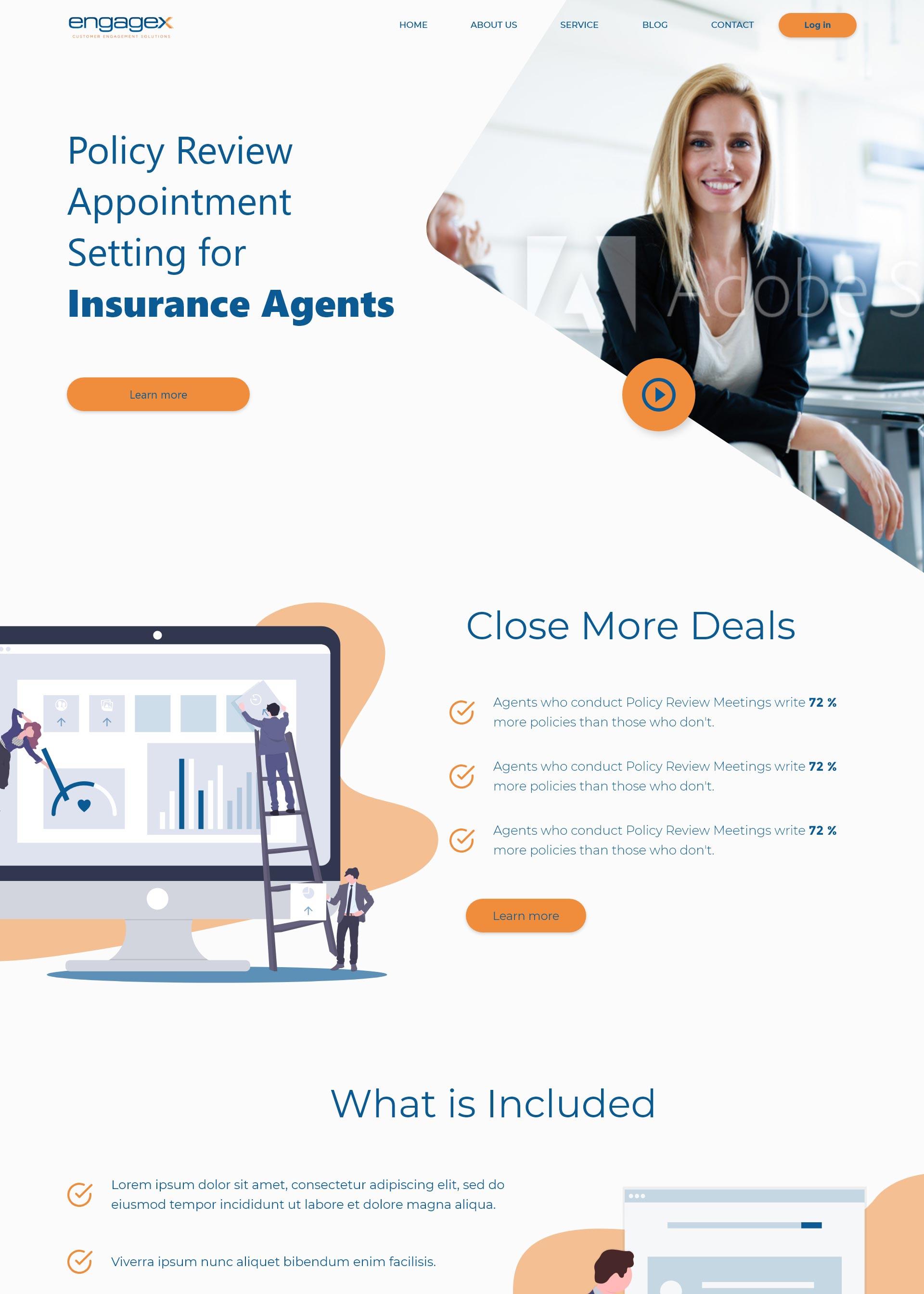 Koncept domače spletne strani za Engagex Appointments