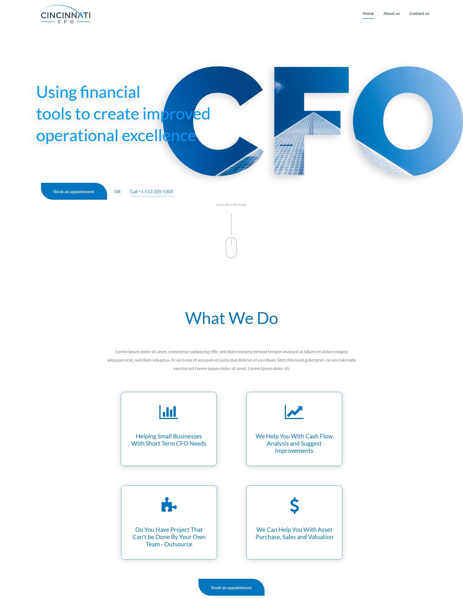 Koncept domače strani za finančne storitve