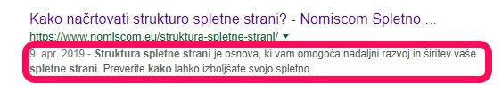 Meta opis v Google iskalniku