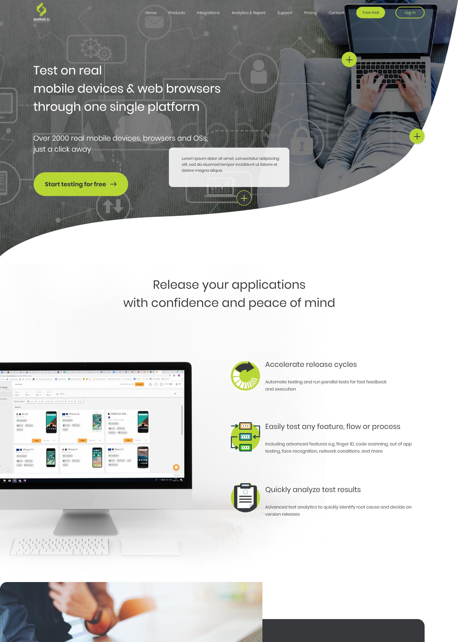 Seetest domača stran koncept izdelave spletne strani