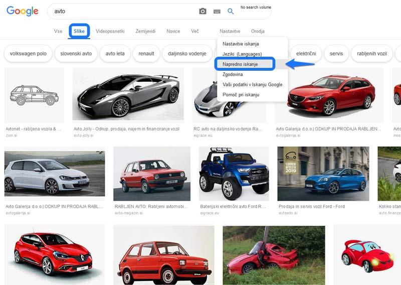 Prikaz google slikovnega iskanja za avto